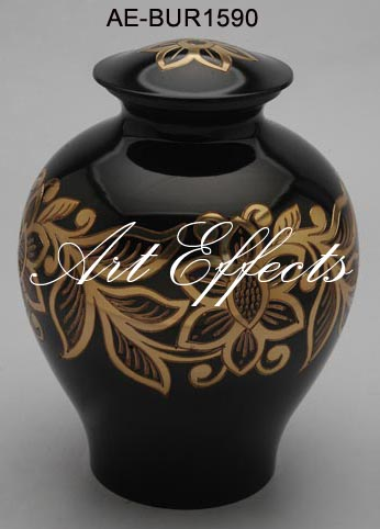 Exquisite Black Floral Brass Cremation Urn